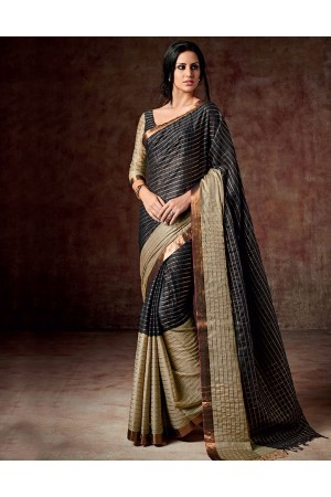 Bani Caviar Black Cotton Saree