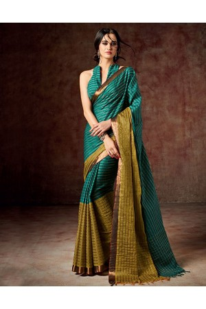 Bani Shamrock Green Cotton Saree