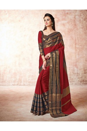 Caris fire red Cotton Sarees