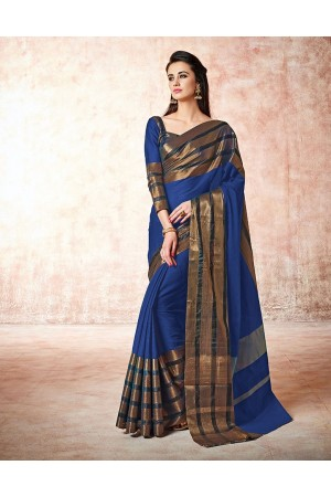 Caris indigo blue Cotton Sarees