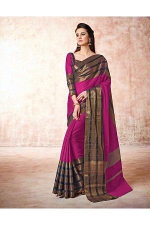 Caris mulberry pink Cotton Sarees