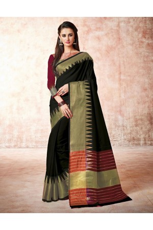 Gia abyss black Cotton Saree