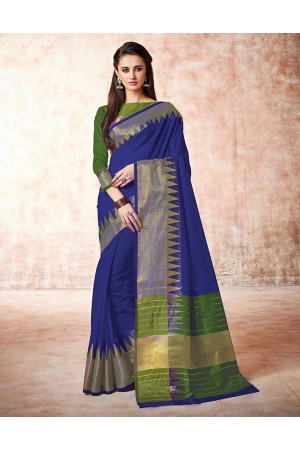 Gia slate blue Cotton Sarees