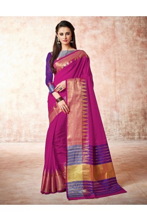 Gia thistle Pink Cotton Saree