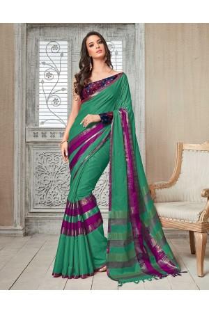 Kasmira Prime Azure Green Festive wear Cotton Saree