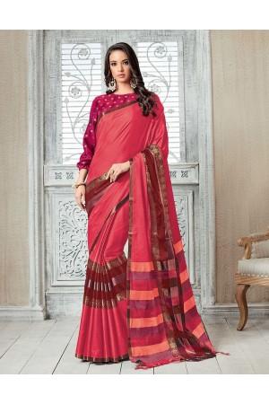 Kasmira Prime Crimson Red Festive wear Cotton Saree
