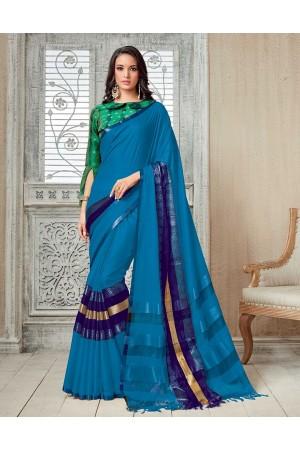 Kasmira Prime Marine Blue Festive wear Cotton Saree