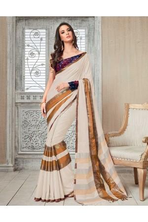Kasmira Prime Pastel Cream Festive wear Cotton Saree