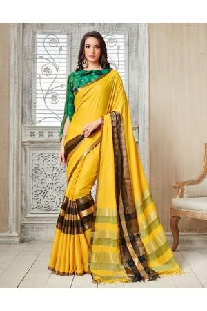 Kasmira Prime Sunshine Yellow Festive wear Cotton Saree
