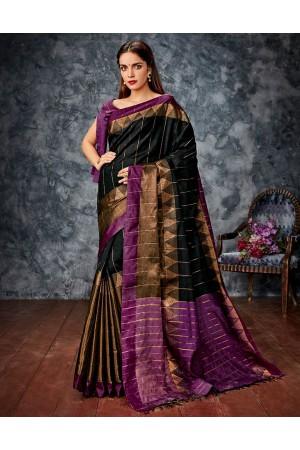 Kusha Black Cotton Saree
