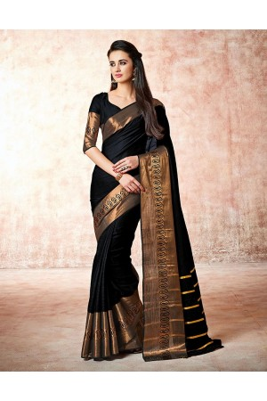 Maarit Smoky Black Cotton Saree