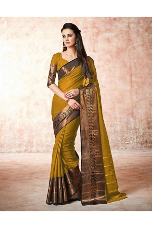 Maarit bay golden Cotton Sarees