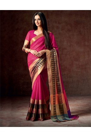 Masarrat Jazzy Pink Cotton Saree