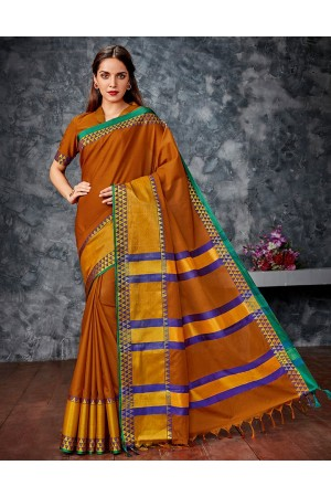 Meera Rust Orange Cotton Saree
