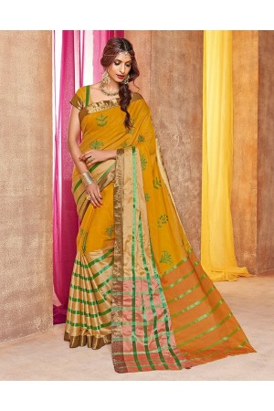 Mehendi Designer Wear Cotton Saree