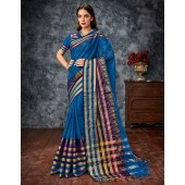 Miloni Blue Cotton Saree