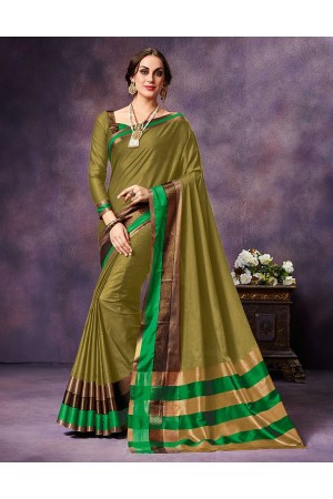 Mysha Turf Yellow Festive Wear Cotton Saree