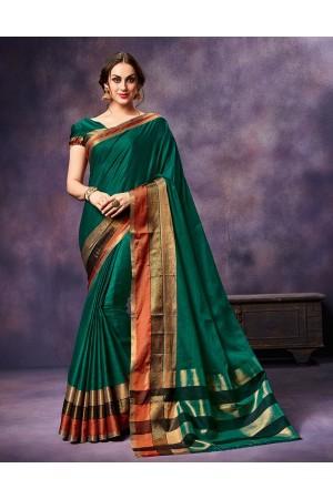 Mysha Warm Green Festive Wear Cotton Saree