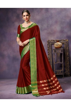Nimmi Currant  Red Cotton Saree