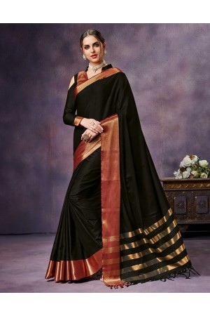 Nimmi ONYX Black Cotton Saree