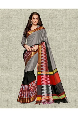 Noor Ash Grey Festive wear Cotton Saree