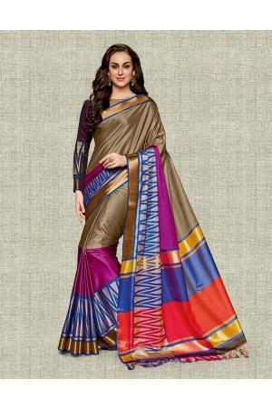 Noor Duskin Beige Festive wear Cotton Saree