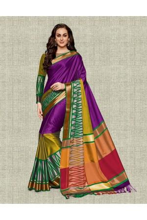 Noor Wine Magenta Festive wear Cotton Saree
