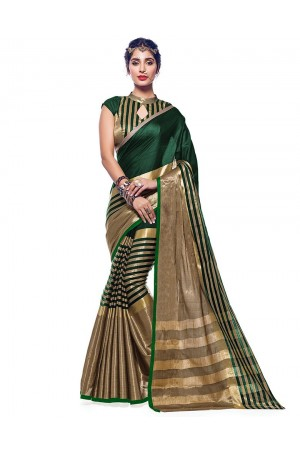 Ora Emerald Green Designer Wear Cotton Saree