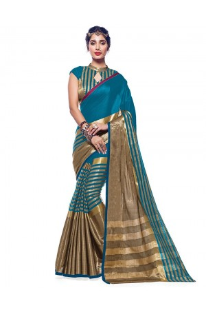 Ora Peacock Blue Designer Wear Cotton Saree
