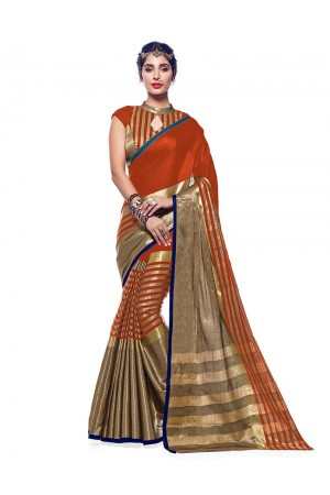 Ora Tangy Orange Designer Wear Cotton Saree