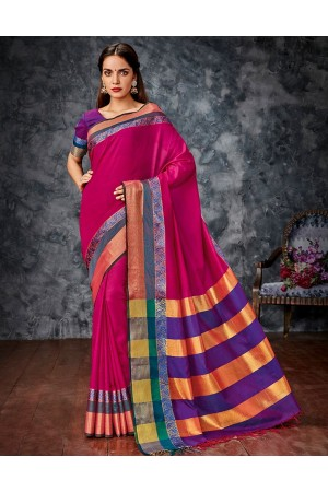 Parisi  Pink Cotton Saree