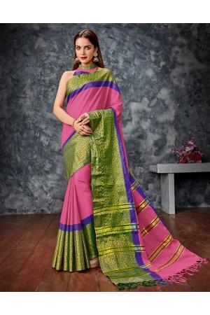 Saanchi Pink Cotton Saree