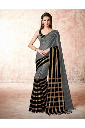 Santana dolphin grey Cotton Saree