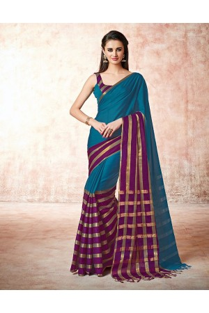 Santana jade blue Cotton Saree