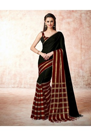 Santana mica black Cotton Saree