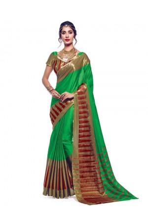 Shinat Lush Green Designer Wear Cotton Saree