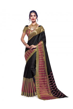 Shinat Smoky Black Designer Wear Cotton Saree