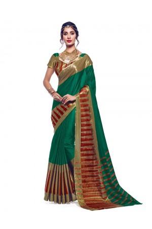 Shinat Tender Green Designer Wear Cotton Saree