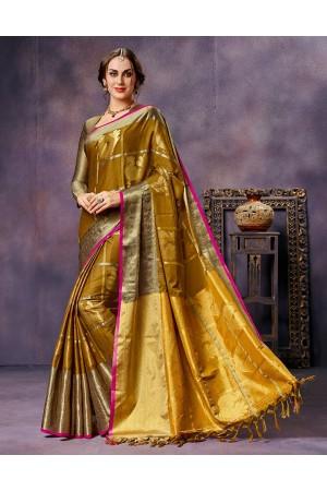 Swarna Golden Yellow  Cotton Saree