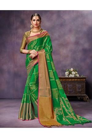 Swarna Lush Green cotton saree