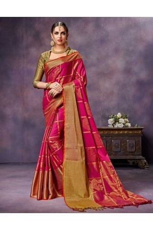 Swarna Rosy Pink Cotton saree