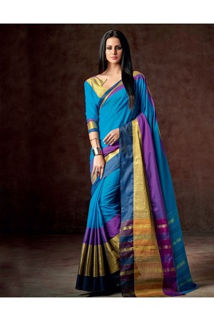 Vena Ablaze Blue Cotton Saree