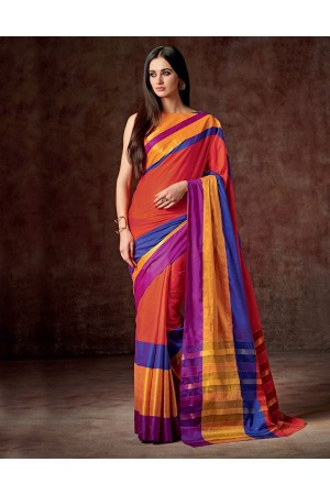 Vena Vivid Orange Cotton Saree