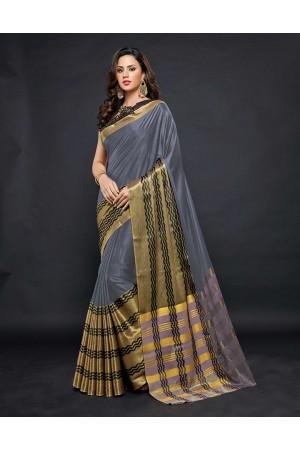Zehra Prime  Ash Grey Festive wear Cotton Saree