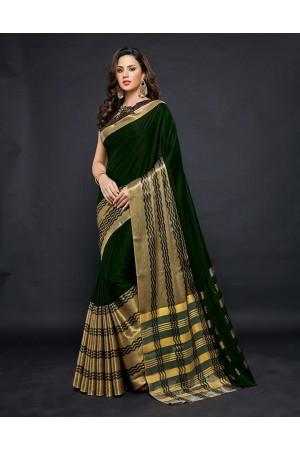 Zehra Prime  Emerald Green Festive wear Cotton Saree