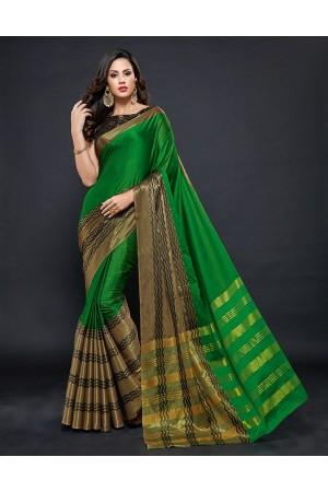 Zehra Prime  Lush Green Festive wear Cotton Saree