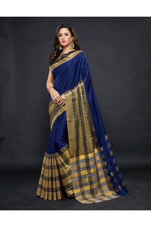 Zehra Prime  Sapphire Blue Festive wear Cotton Saree