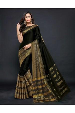 Zehra Prime  Smoky Black Festive wear Cotton Saree