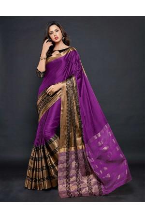 Zehra Prime  Wine Magenta Festive wear Cotton Saree