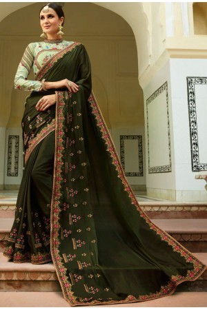 Mehandi Barfi silk saree Indian wedding saree double blouse